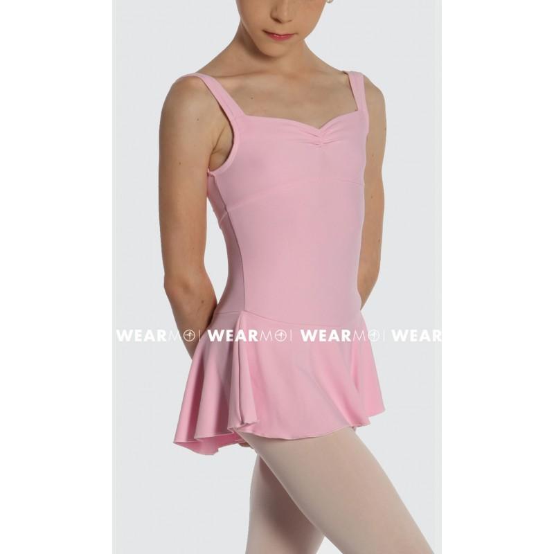 Rose en  12//14 ans justaucorps à bretelles CRAIT C1804- tunique de danse fille